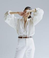 JUN MIKAMI  irish linen tacked sleeve blouse