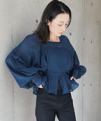 JUN MIKAMI square neck blouse, cotton silk voile