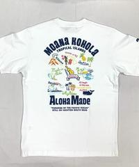 ハワイアン柄Tシャツ ホワイト/トロピカル (メンズサイズ)バックプリント