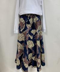 パラシュートスカート 濃紺に茶パイナップル柄 ハワイアンファクトリー