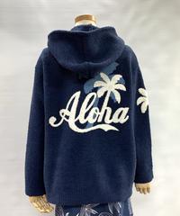 あったかモコモコZipパーカー (ネイビー) ALOHA刺繍