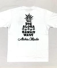 ハワイアン柄Tシャツ ホワイト/パイナップル (メンズサイズ)バックプリント