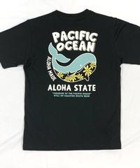 ハワイアン柄Tシャツ ブラック/ホエール (メンズサイズ)バックプリント