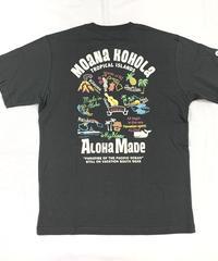 ハワイアン柄Tシャツ チャコール/トロピカル (メンズサイズ)バックプリント