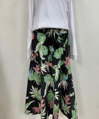 パラシュートスカート ブラックリーフ柄 ハワイアンファクトリー