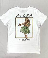 ハワイアン柄Tシャツ ホワイト/フラガール (レディースサイズ)バックプリント