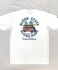 ハワイアン柄Tシャツ ホワイト/トロピカルアイランド (メンズサイズ)バックプリント