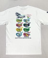ハワイアン柄Tシャツ ホワイト/トロピカルクジラ (メンズサイズ)バックプリント