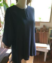 二重織りガーゼ一つ釦ブラウス ログウッド染め