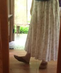 綿麻インクジェットプリントギャザースカート Be/Gr