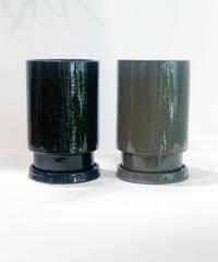 GLAZED TALL POT  black/gray