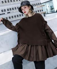 プリーツスプリットルーズフィットセーター(E-811)