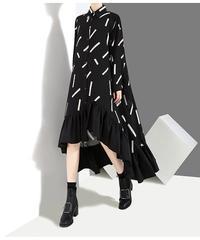 ブラックロングスタイリッシュドレス(E-423)
