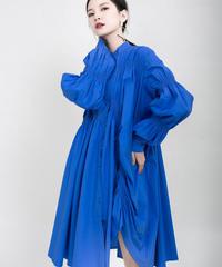 ブルーアシンメトリープリーツドレス(X-403)