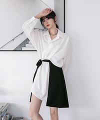バイカラーツーピースシャツドレス(X-589)