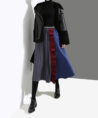 マルチパッチワークプリーツスカート(E-218)