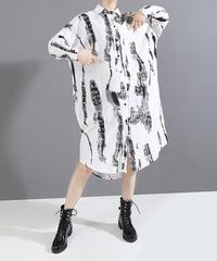 ロングスリーブルーズシャツドレス(X-573)