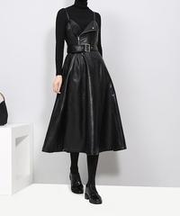 ブラックミディノースリーブドレス(E-628)