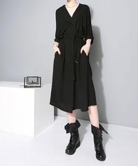 Vネックスタイリッシュブラックドレス(E-315)