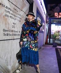【LONDA】チェック柄プリーツヴィンテージドレス(E-561)