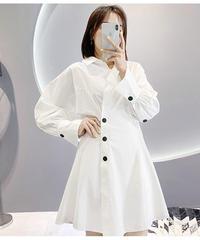 ホワイトビショップスリーブシャツドレス(X-420)
