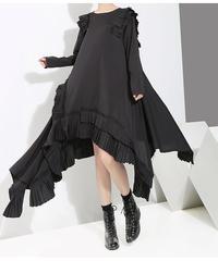 フリルレースプリーツラウンド裾ドレス(E-609)