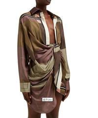 【LONDA】ラペル襟ハイウエスト幾何学ドレス(E-636)