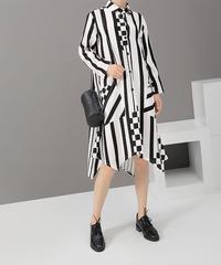 ブロックストライプシャツドレス(E-452)