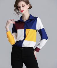 【LONDA】マルチカラーチェックプリントシャツ(E-586)