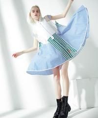 ストライプ スプリットジョイントオーガンザシャツドレス(E-377)