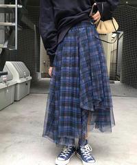 チェックパターンメッシュロングスカート(X-377)