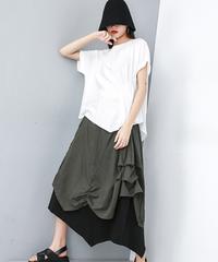 プリーツ切り替え半身スカート(E-072)