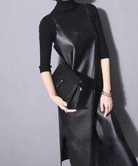 ブラックノースリーブドレス(X-402)