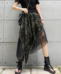 カモフラージュルーズメッシュスカート(E-037)