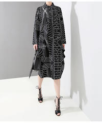 【LONDA】ストライププリントブラックシャツドレス(E-421)