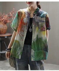 スタンドカラーミックスパターンシャツ(BA-052)