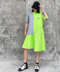 フルーレセントワンサイドプリーツドレス(DA-018)