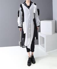 白黒フリルパッチワークシャツドレス(X-453)