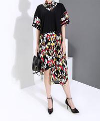 モダンフラワーレイヤードドレス(DA-063)