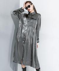 ストライププリッツワイドルーズシャツドレス(X-549)