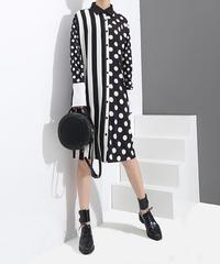 黒ストライプドットプリントシャツドレス(E-133)