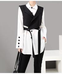 ブラックベストホワイトシャツツーピースセット(E-430)