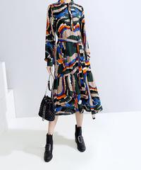 モザイク柄ルーズフィットドレス(E-735)