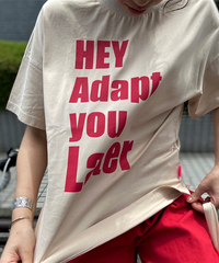 side slit T-shirt HAY Adapt you Later【2202866】