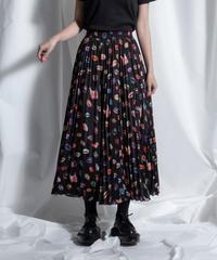 lip print pleats skirt【2211606】