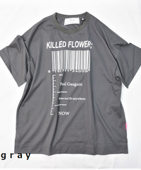side slit T-shirt KILLED FLOEWER;【2202871】