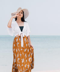 New  Rustic Floral Maxi  Skirt