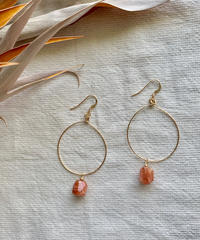 Sun Stone Hoop Earrings