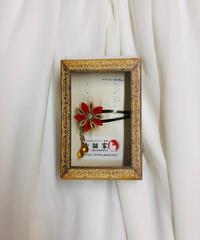《赤猫家》スリーピン(ぱっちん)赤×ベージュ系ak-4081