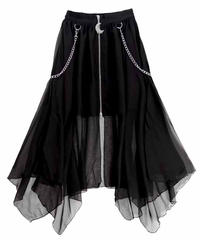 LISTEN FLAVOR 2113523  チェーン付センタージップヘムラインレイヤードスカート